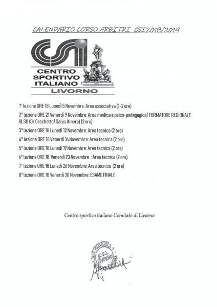 Calendario Csi.Calendario Calendario Arbitri Csi 2018 2019 Csi Livorno
